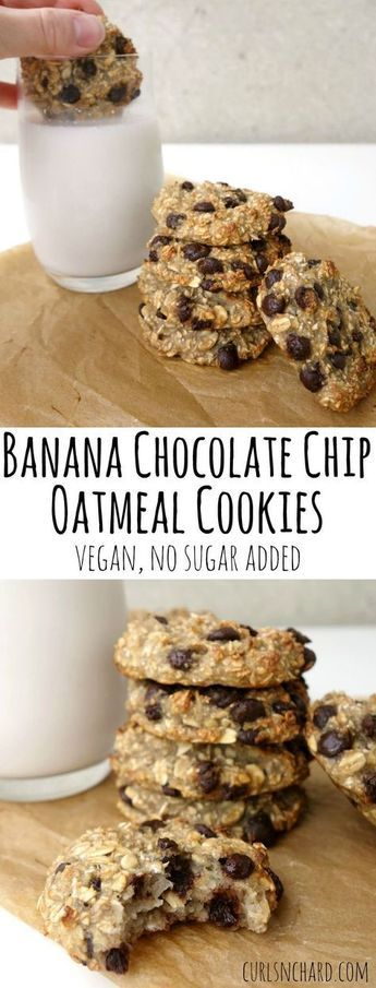30 Vegan Cookie Recipes: Banana Chocolate Chip Oatmeal Cookies