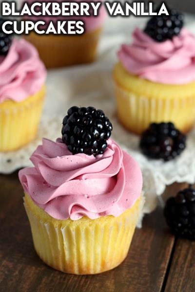 30 Valentines Day Cupcakes: Blackberry Vanilla Cupcakes