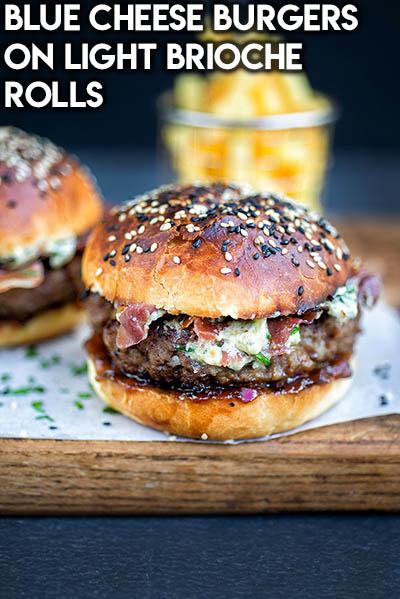 21 Burger Recipes: Blue Cheese Burgers On Light Brioche Rolls