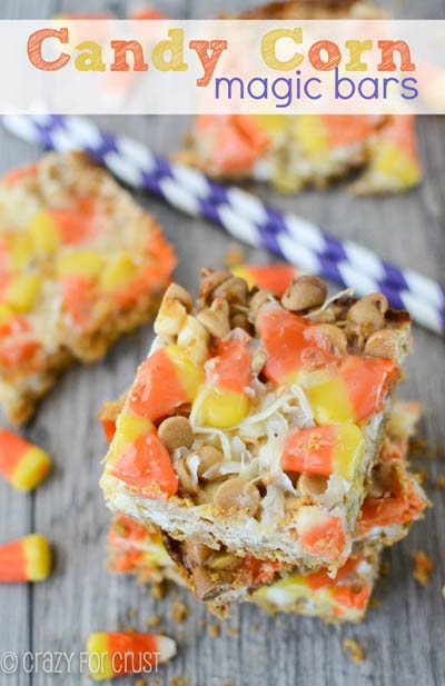 28 Magic Cookie Bars: Candy Corn Magic Bars