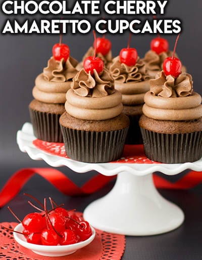 30 Valentines Day Cupcakes: Chocolate Cherry Amaretto Cupcakes