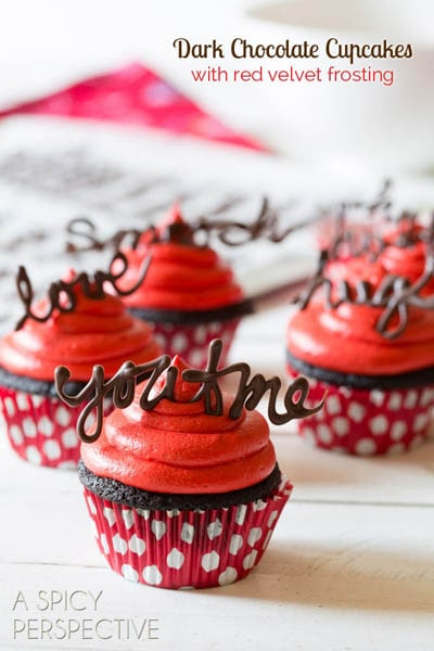 30 Valentines Day Cupcakes: Chocolate Cupcake Recipe With Red Velvet Frosting