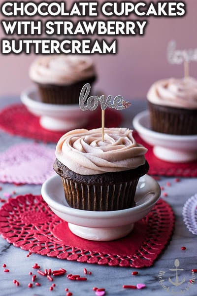 30 Valentines Day Cupcakes: Chocolate Cupcakes With Strawberry Buttercream