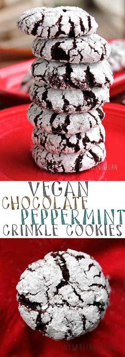 30 Vegan Cookie Recipes: Chocolate Peppermint Crinkle Cookies