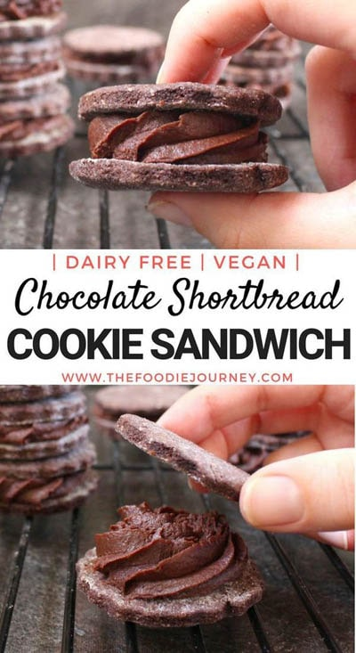 30 Vegan Cookie Recipes: Chocolate Shortbread Cookie Sandwich
