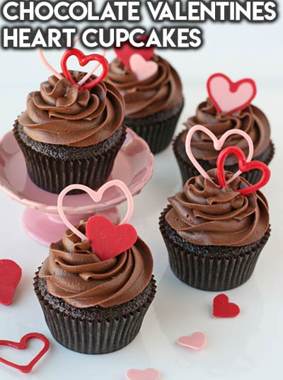 30 Valentines Day Cupcakes: Chocolate Valentines Heart Cupcakes