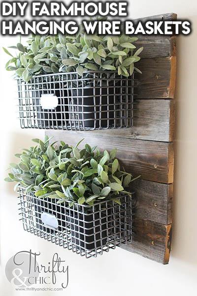 10 Dollar Store Farmhouse Decor Ideas: DIY Farmhouse Hanging Wire Baskets