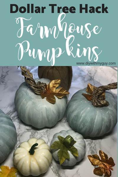 10 Dollar Store Farmhouse Decor Ideas: DIY Farmhouse Pumpkins