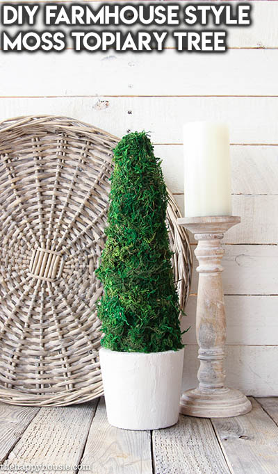 10 Dollar Store Farmhouse Decor Ideas: DIY Farmhouse Style Moss Topiary Tree