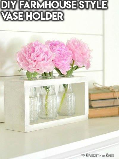 10 Dollar Store Farmhouse Decor Ideas: DIY Farmhouse Style Vase Holder