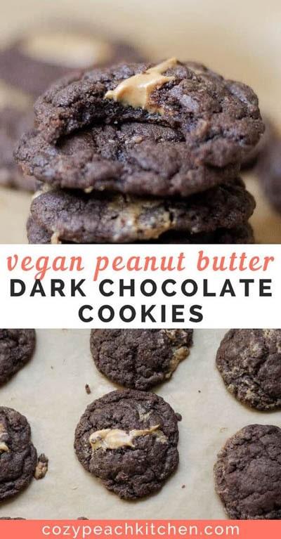 30 Vegan Cookie Recipes: Dark Chocolate Peanut Butter Cookies