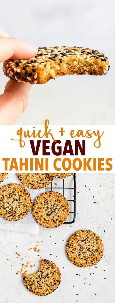 30 Vegan Cookie Recipes: Easy Vegan Tahini Cookies