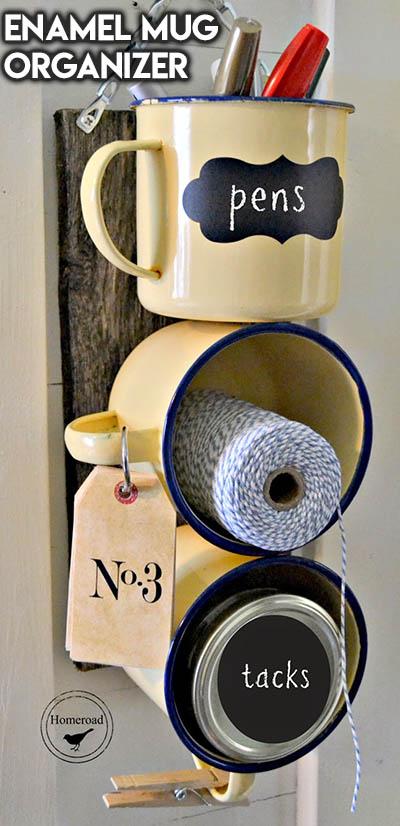 10 Dollar Store Farmhouse Decor Ideas: Enamel Mug Organizer
