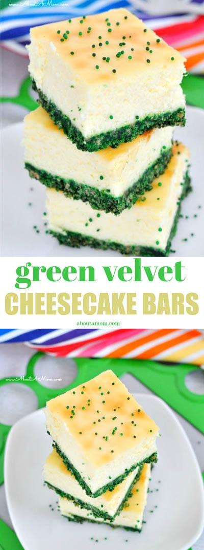 50 St. Patrick's Day Desserts: Käsekuchenriegel aus grünem Samt