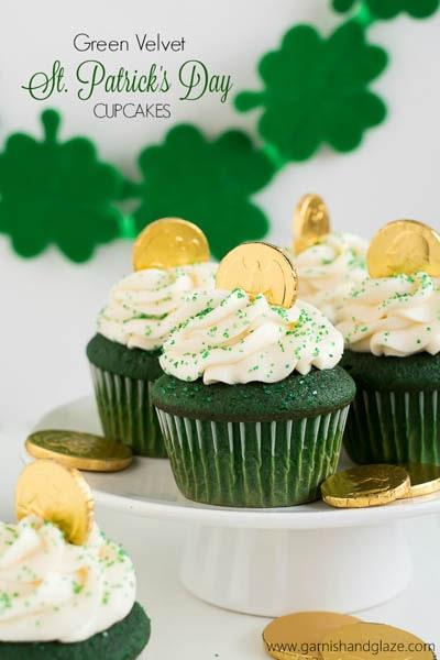50 St Patrick's Day Desserts: Green Velvet St. Patrick's Day Cupcakes