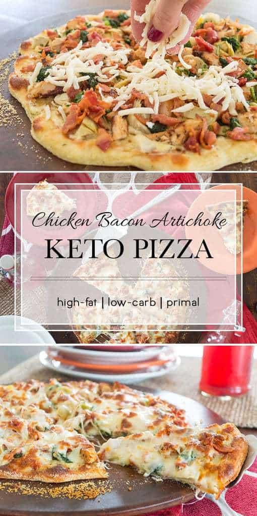 16 Keto Pizza Recipes: Keto Chicken Bacon Artichoke Pizza