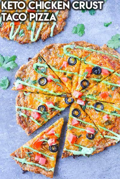 16 Keto Pizza Recipes: Keto Chicken Crust Taco Pizza