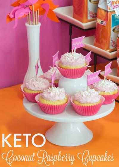 20 Keto Valentines Dessert Recipes: Keto Coconut Raspberry Cupcakes