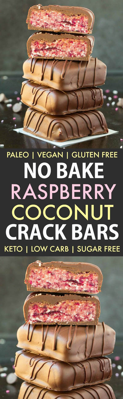 20 Keto Valentines Dessert Recipes: Keto No Bake Raspberry Coconut Crack Bars