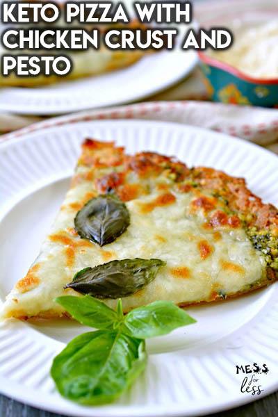 16 Keto Pizza Recipes: Keto Pizza With Chicken Crust And Pesto