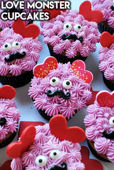30 Valentines Day Cupcakes: Love Monster Cupcakes