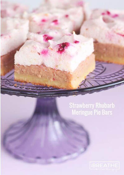 20 Keto Valentines Dessert Recipes: Low Carb Strawberry Rhubarb Meringue Pie Bars