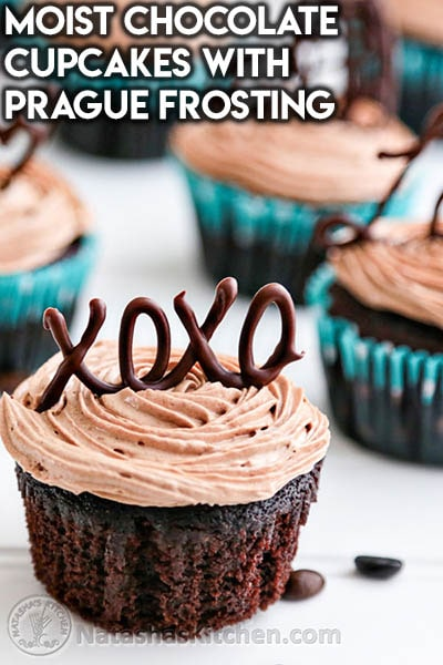 30 Valentines Day Cupcakes: Moist Chocolate Cupcakes with Prague Frosting