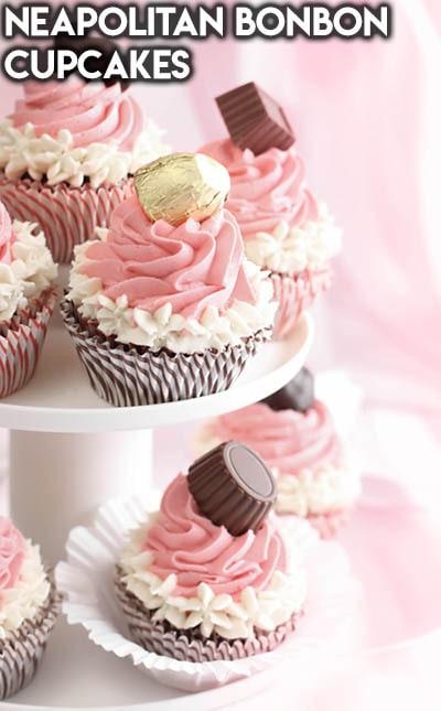 30 Valentines Day Cupcakes: Neapolitan Bonbon Cupcakes