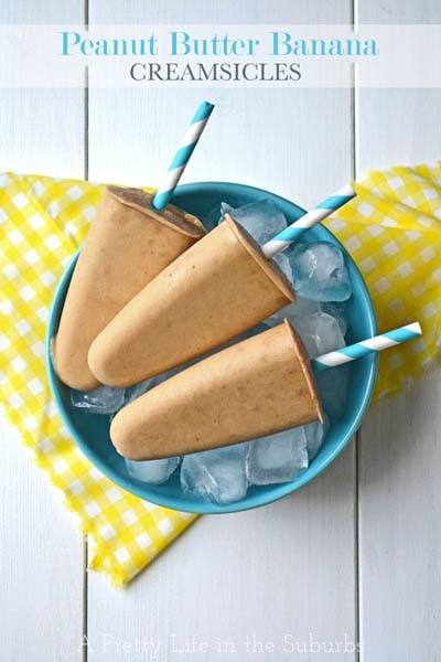 50 Popsicle Recipes: Peanut Butter Banana Creamsicles