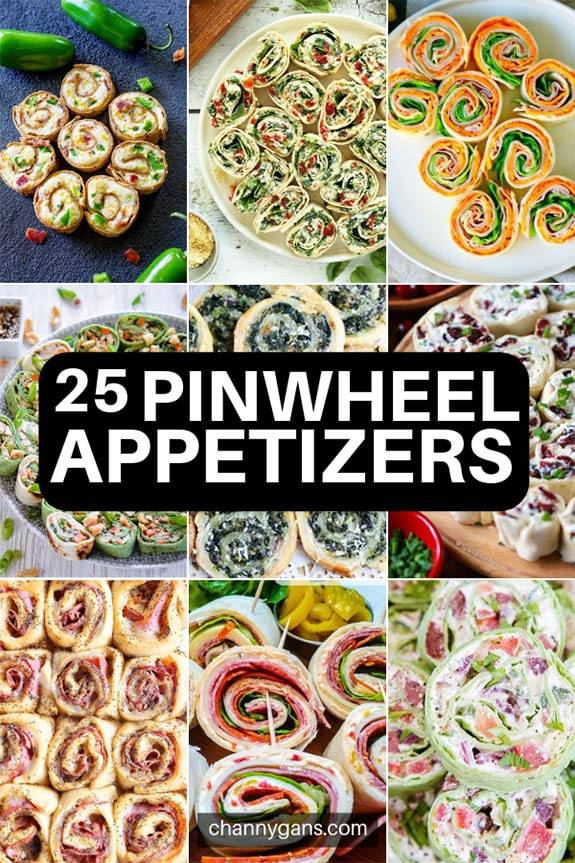 25 Pinwheel Appetizer Roll Ups. Pinwheel appetizers are the perfect party food to feed a crowd. They are simple and easy to make, and they always taste delicious!