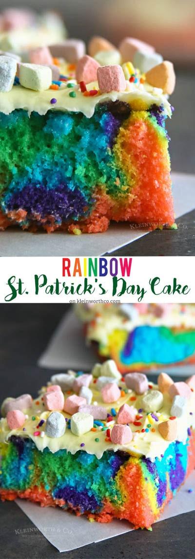 50 St Patrick's Day Desserts: Rainbow St. Patrick's Day Cake