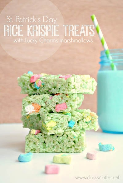 50 St Patrick's Day Desserts: Rice Krispie Treats with Lucky Charms Marshmallows