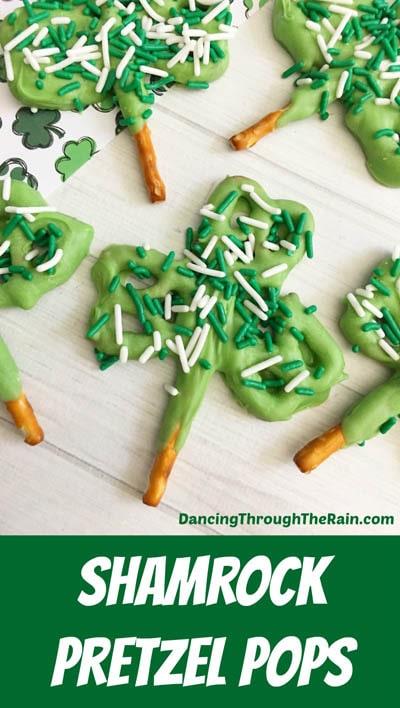 50 St. Patrick's Day Desserts: Shamrock Brezel Pops