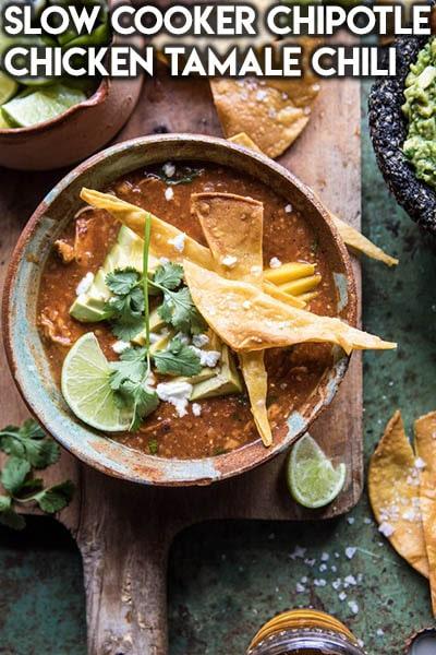 40 Chili Recipes: Slow Cooker Chipotle Chicken Tamale Chili