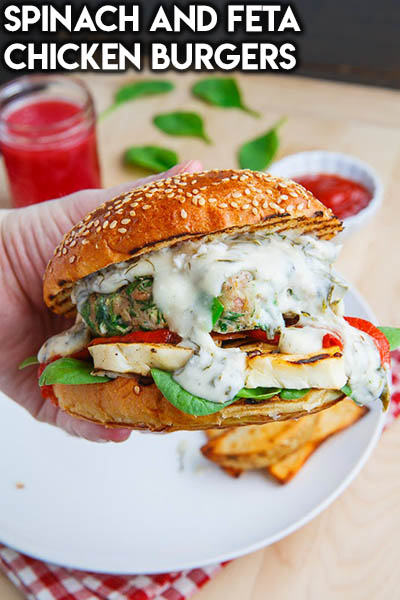 21 Burger Recipes: Spinach and Feta Chicken Burgers
