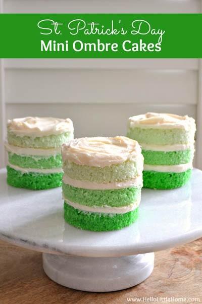 50 St Patrick's Day Desserts: St. Patrick's Day Mini Ombre Cakes