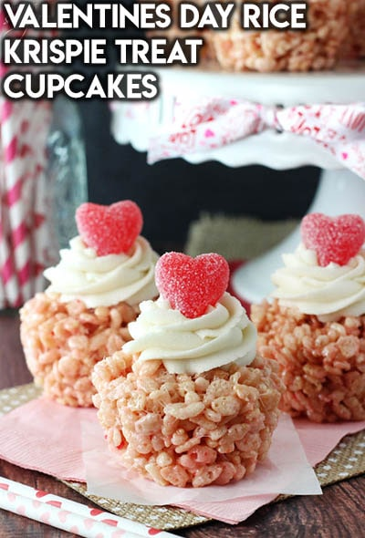 30 Valentines Day Cupcakes: Valentines Day Rice Krispie Treat Cupcakes