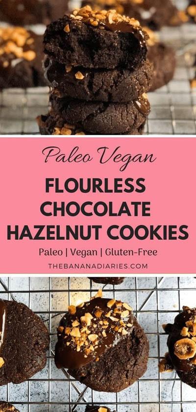 30 Vegan Cookie Recipes: Vegan Flourless Chocolate Hazelnut Cookies