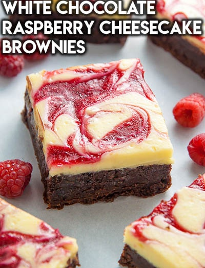 50 Brownie Recipes: White Chocolate Raspberry Cheesecake Brownies