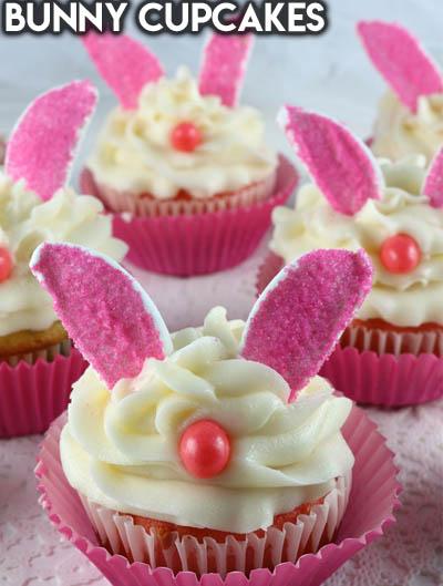 20 Easter Dessert Ideas: Bunny Cupcakes