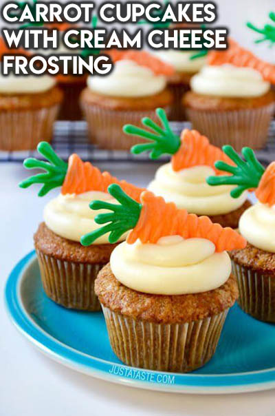 20 Easter Dessert Ideas: Carrot Cupcakes with Cream Cheese Frosting
