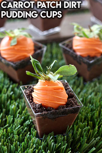 20 Easter Dessert Ideas: Carrot Patch Dirt Pudding Cups