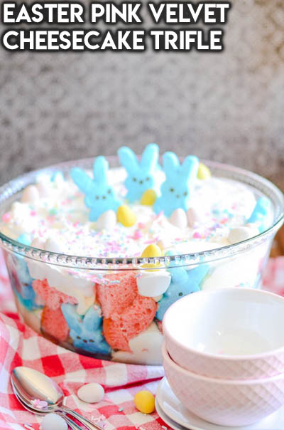 20 Easter Dessert Ideas: Easter Pink Velvet Cheesecake Trifle