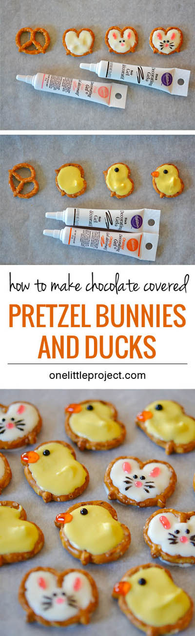 20 Easter Dessert Ideas: Pretzel Bunnies And Ducks