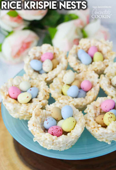 20 Easter Dessert Ideas: Rice Krispie Nests