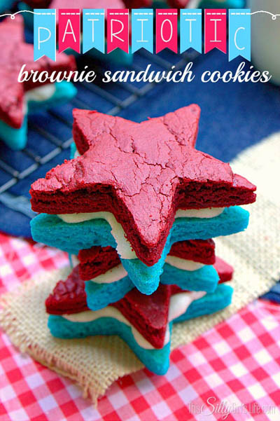 20 Best 4th Of July Dessert Ideas: Patriotic Brownie Sandwich Cookies